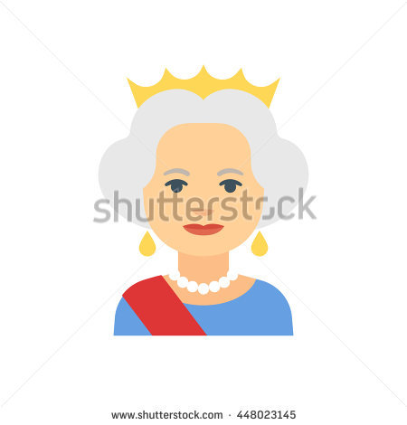 July 16, 2016: Flat cartoon vector illustration of Queen Elizabeth II  isolated on white - Queen Elizabeth Cartoon PNG