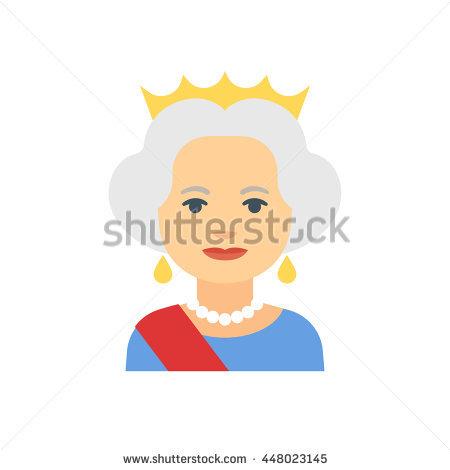 July 16, 2016: Flat cartoon vector illustration of Queen Elizabeth II  isolated on white - Queen Elizabeth Cartoon PNG