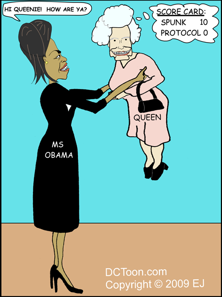 Michelle Obama meets Queen Elizabeth II (Political Cartoon by EJ) - Queen Elizabeth Cartoon PNG