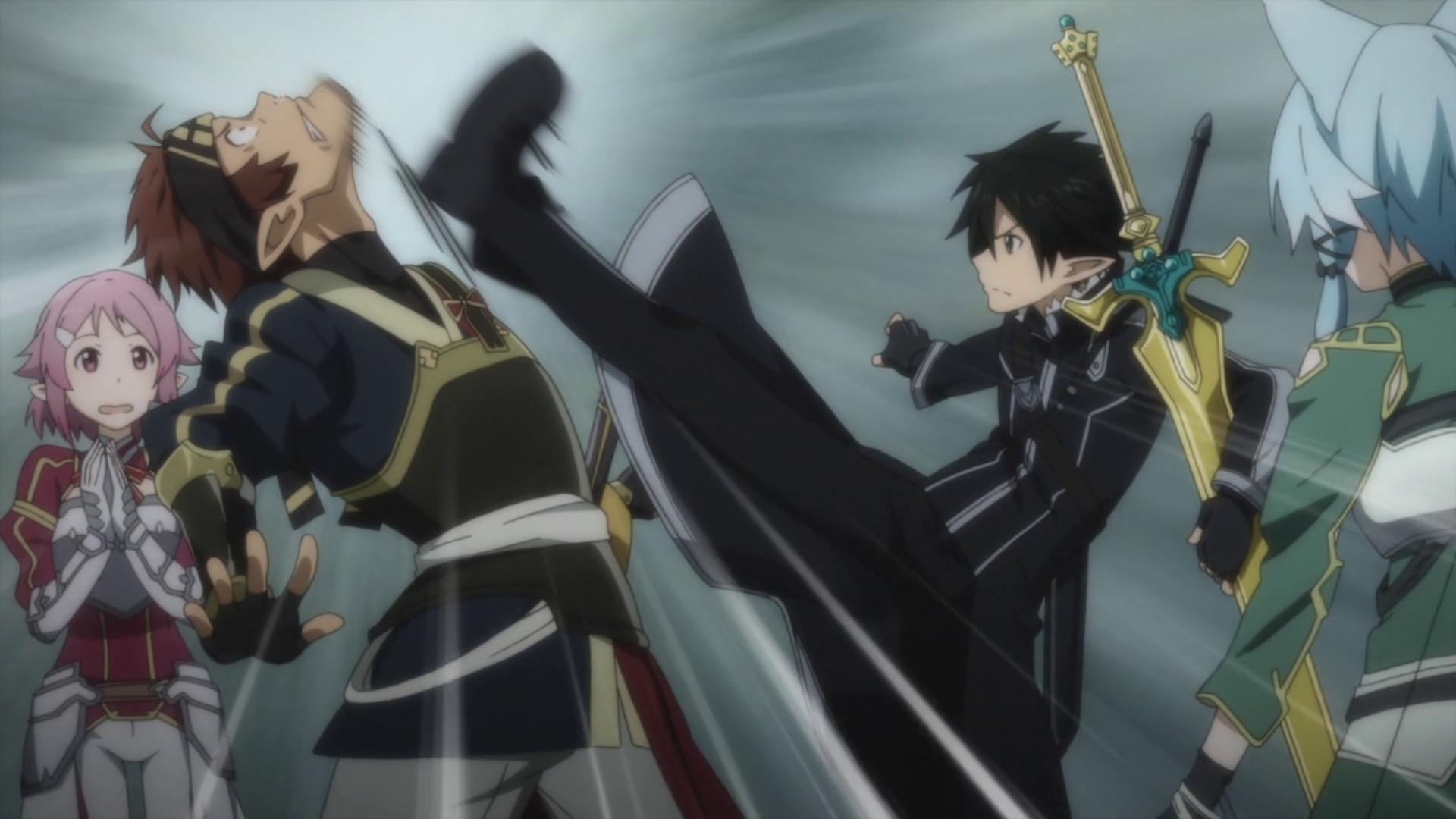Kirito getting Klein to be quiet.png - Quiet PNG HD