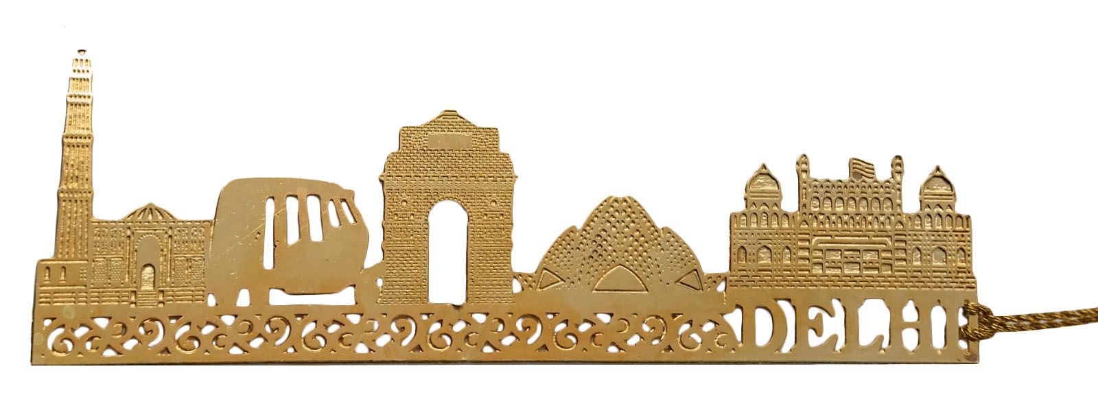 Intricately-Bookmark-Metal-Cut-World-Qutub-Minar-Design- - Qutub Minar PNG