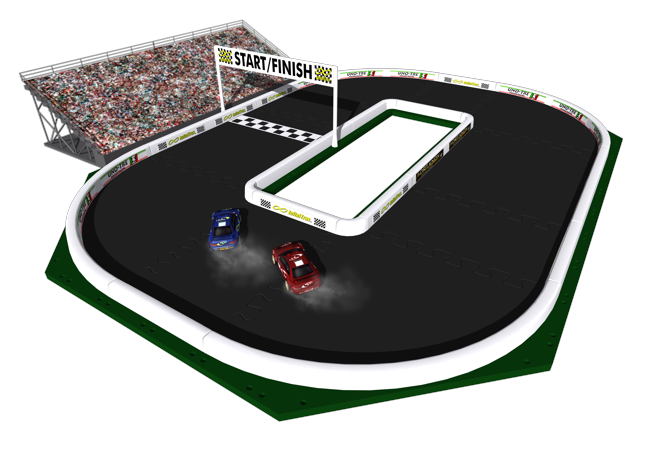 Your racing champ can build this amazing track in both oval and drag racing  configurations. - Racetrack PNG Oval