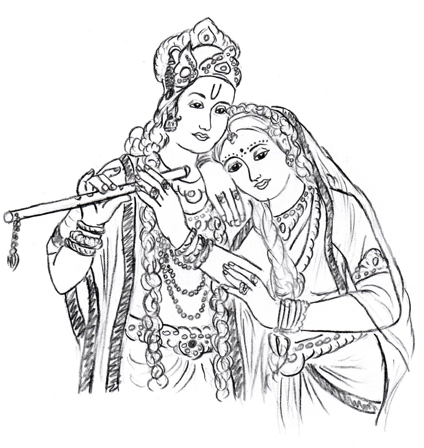 Download the above pattern - Radha Krishna Black And White PNG