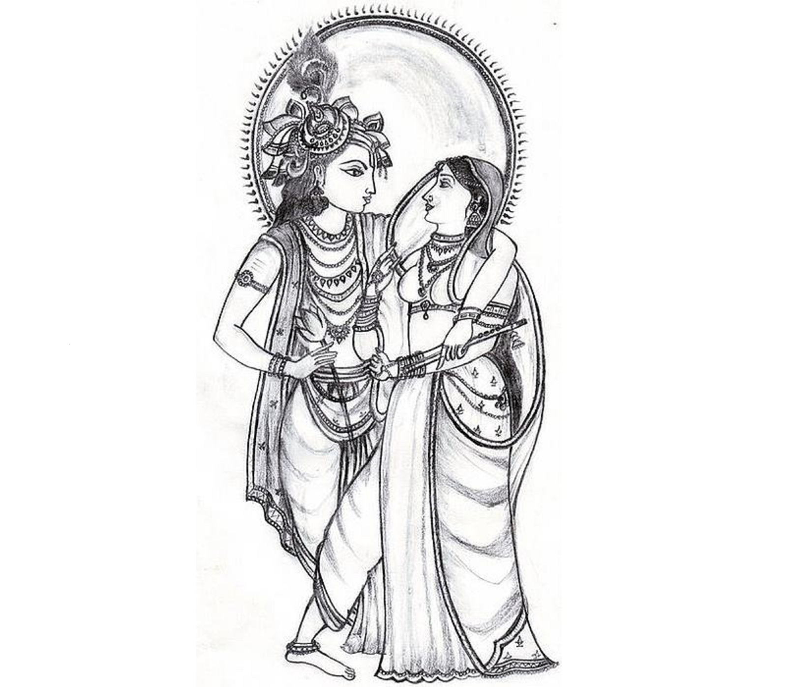 Krishna and radha clipart radha krishna black and white png