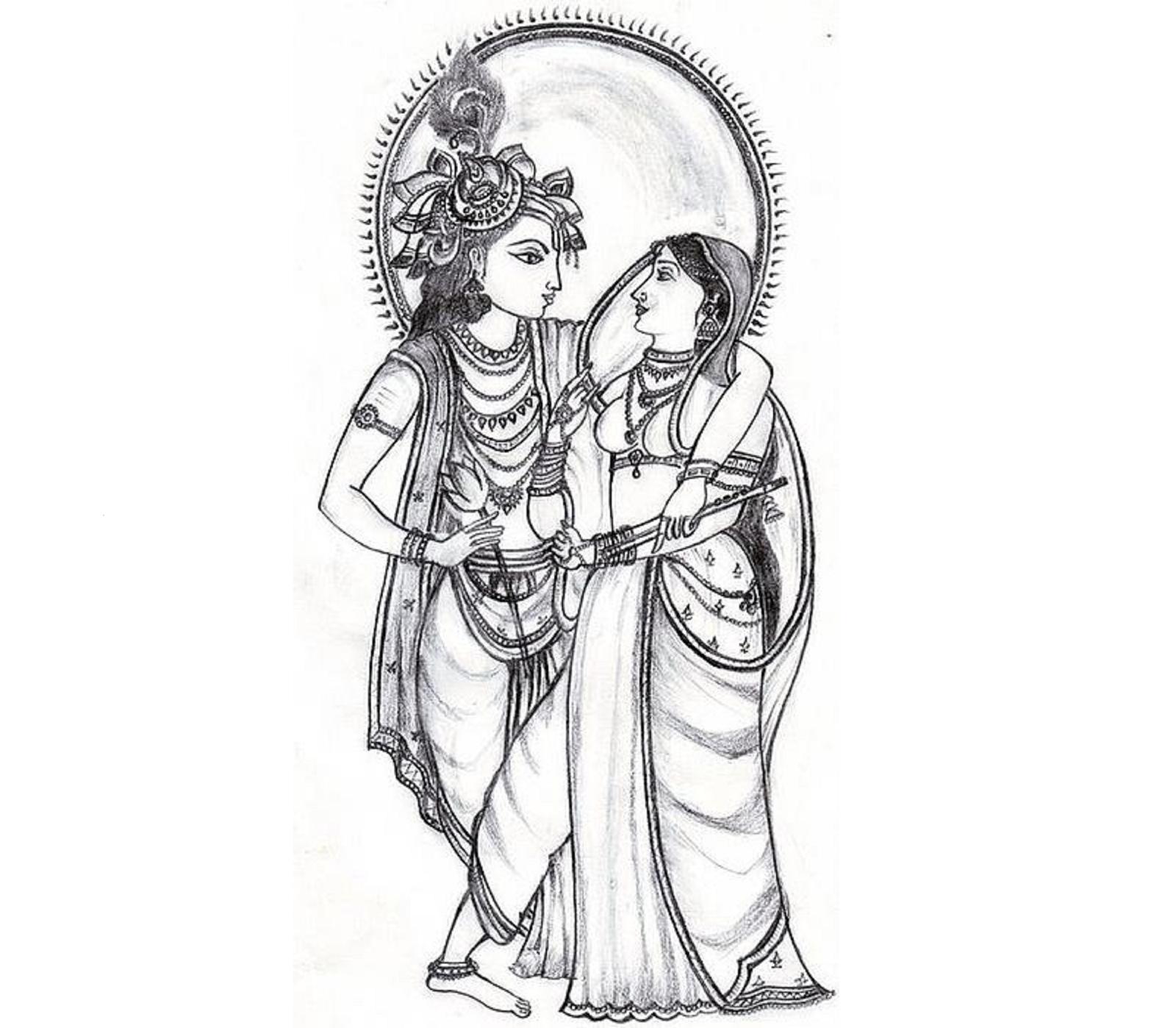 radha krishna black and white png krishna and radha clipart 1600