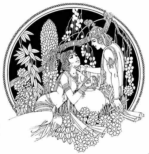 krishna black and white clipart - Radha Krishna Black And White PNG