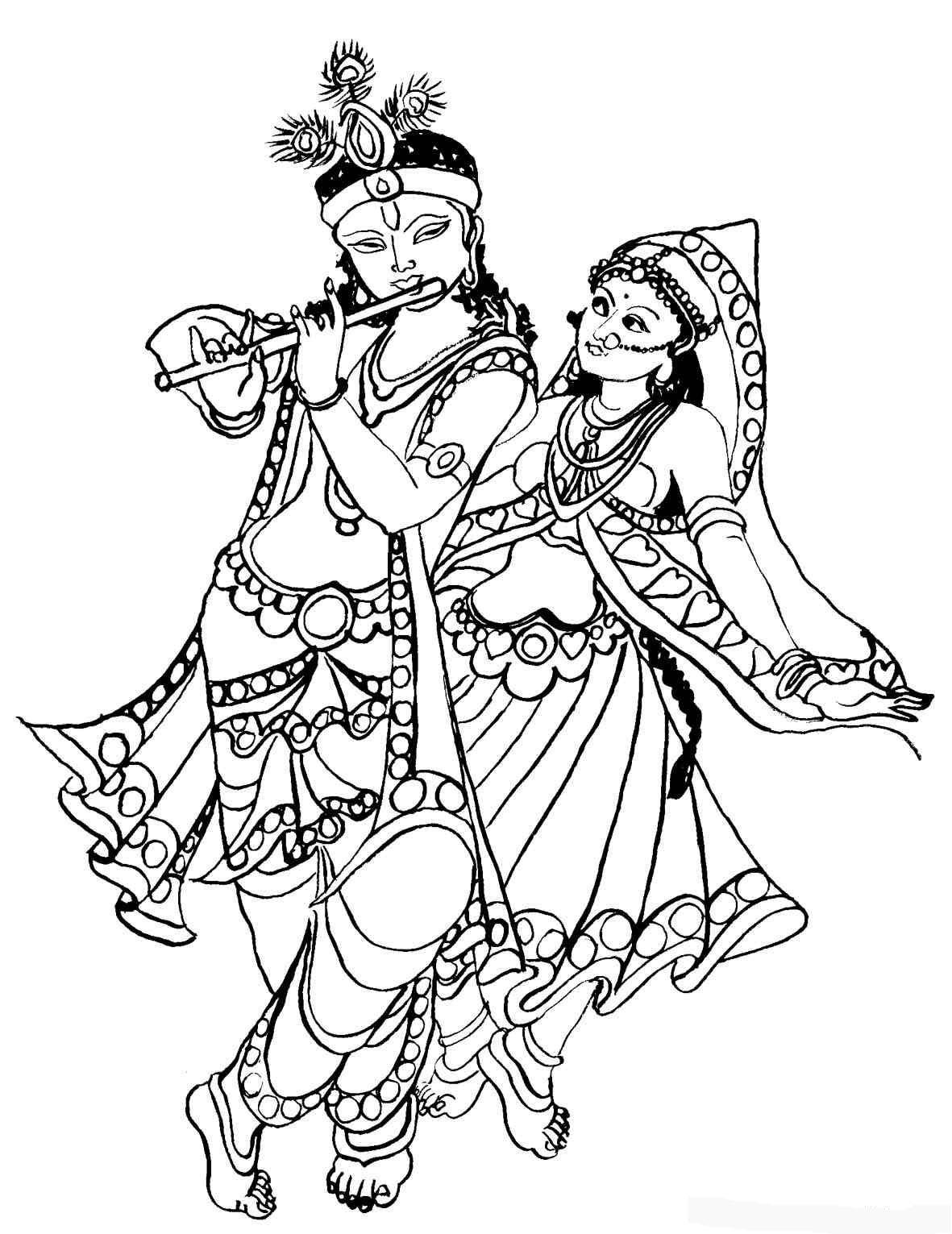 Krishna Clipart · Radha Krishna Black And White Clipart - Radha Krishna Black And White PNG