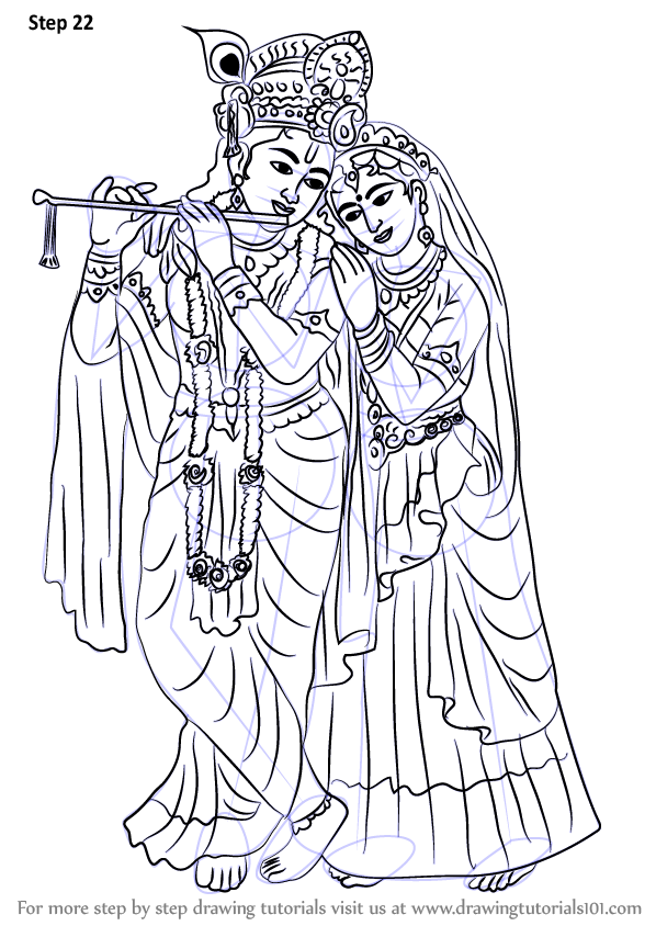 Learn How to Draw Krishan with Radha (Hinduism) Step by Step : Drawing  Tutorials - Radha Krishna Black And White PNG
