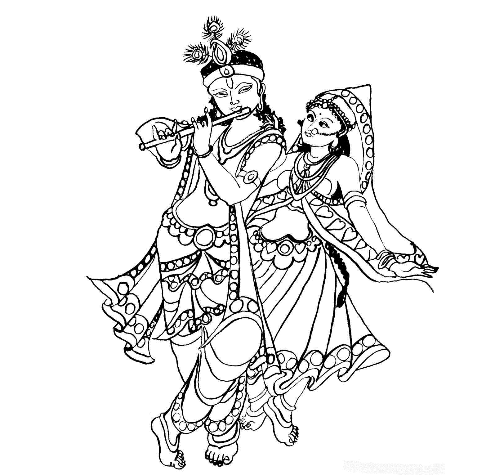 Lord Radha Krishna Coloring Drawing Free wallpaper - Radha Krishna Black And White PNG