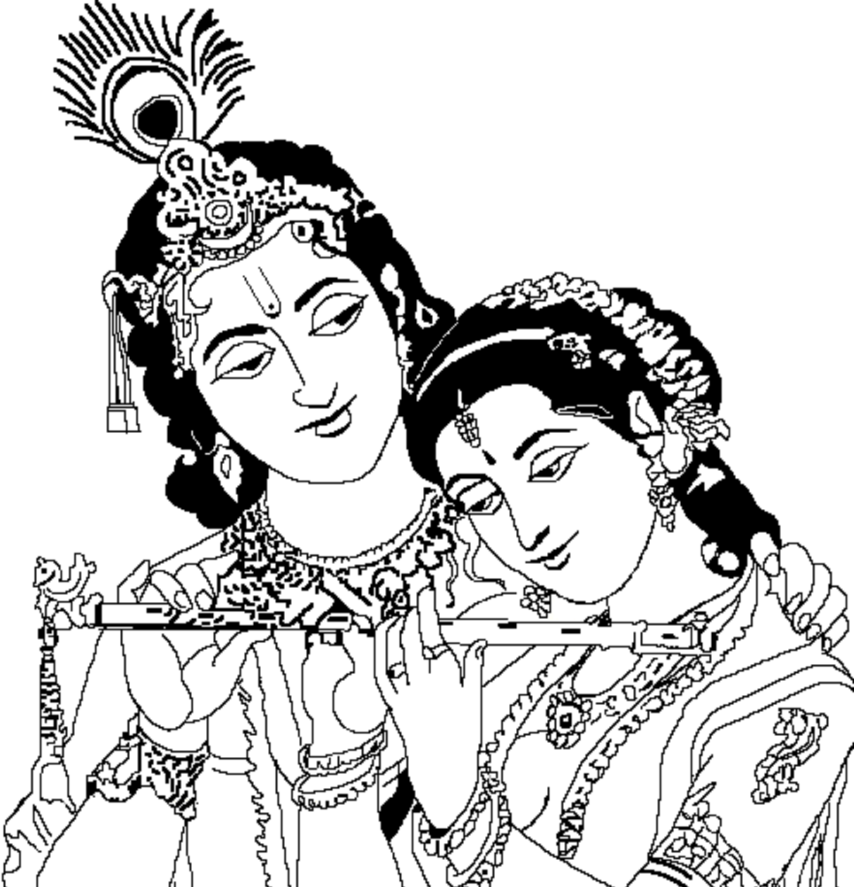 Radha Krishna Black And White PNG