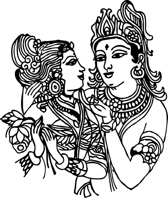 pin Krishna clipart black and white #3 - Radha Krishna Black And White PNG