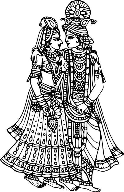 Radha Krishna Black And White Clipart · Krishna Clipart - Radha Krishna Black And White PNG