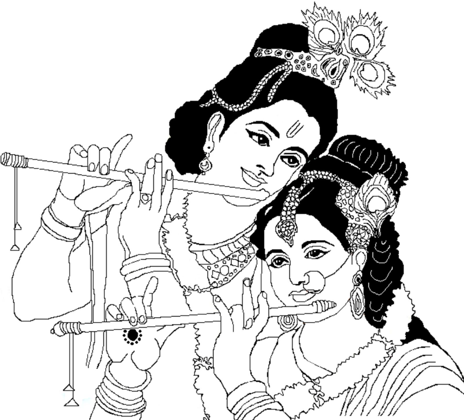 Radha Krishna Clipart - Radha Krishna Black And White PNG