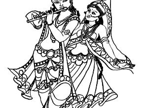 Radha Krishna Coloring Pages - Radha Krishna Black And White PNG