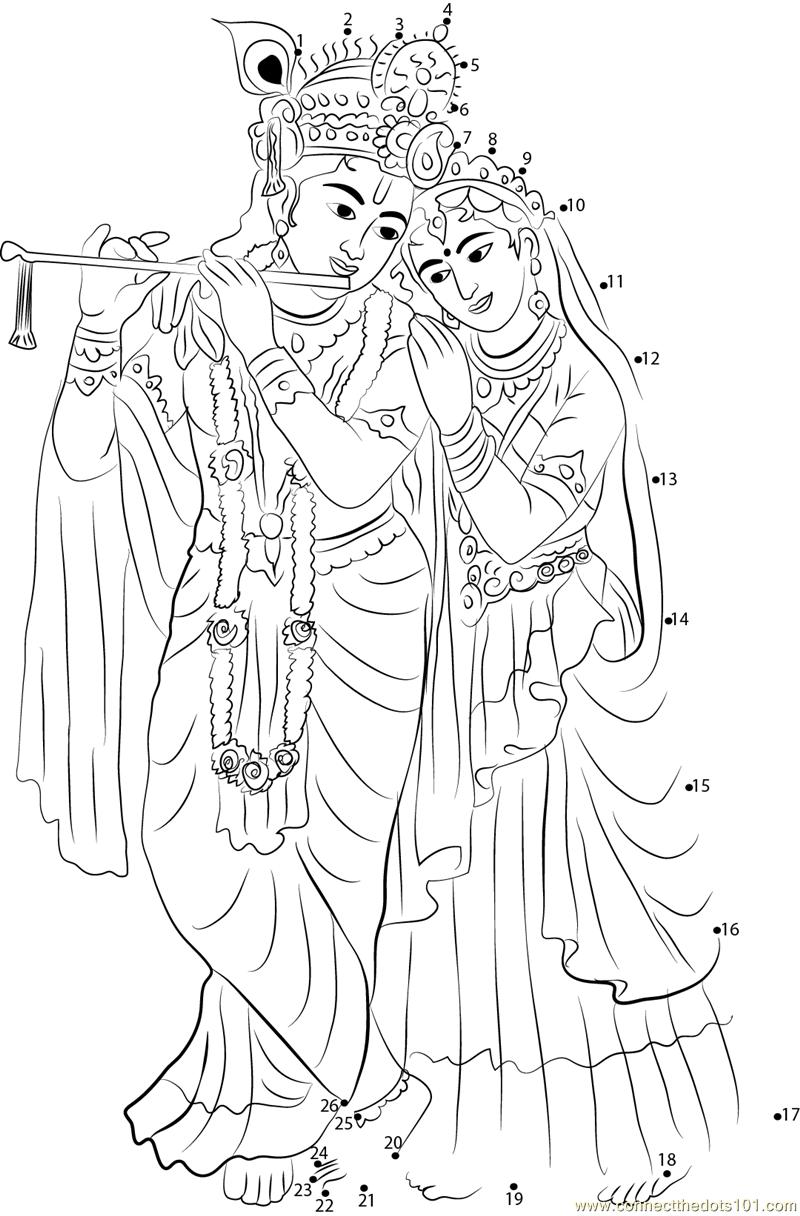 radha krishna connect dots clipart - Radha Krishna Black And White PNG