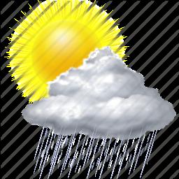 cloud, cloudy, forecast, rain, sun, sunny, weather icon - Rain And Sun PNG
