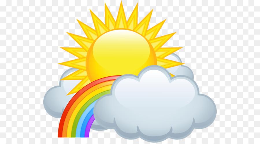 Cloud Rain Clip art - Rainbow clouds and sun - Rain And Sun PNG