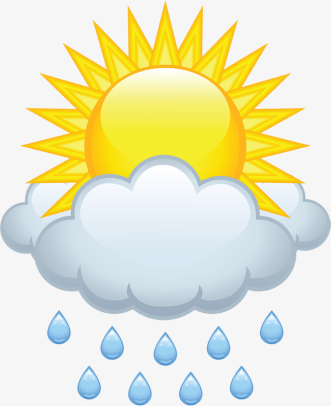 cloudy sun rain material free to pull the image, Partly Cloudy, Sun Rain, - Rain And Sun PNG