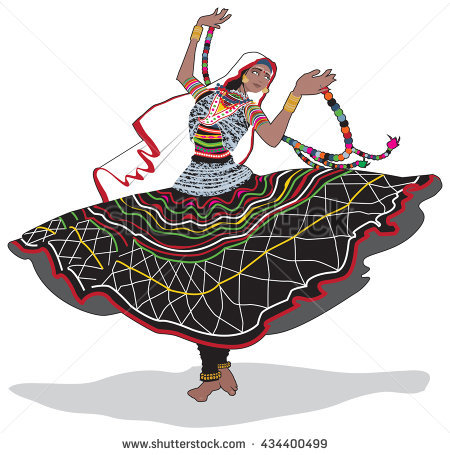 Colorful vector illustration of an Indian gypsy dancer from Rajasthan, India - Rajasthani Dance PNG