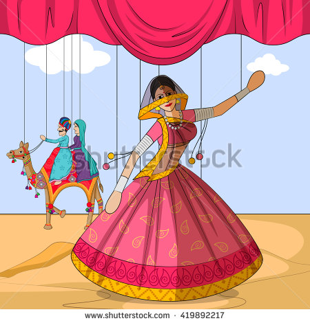 Vector design of colorful Rajasthani Puppet doing Ghoomar folk dance of  Rajasthan, India - Rajasthani Dance PNG