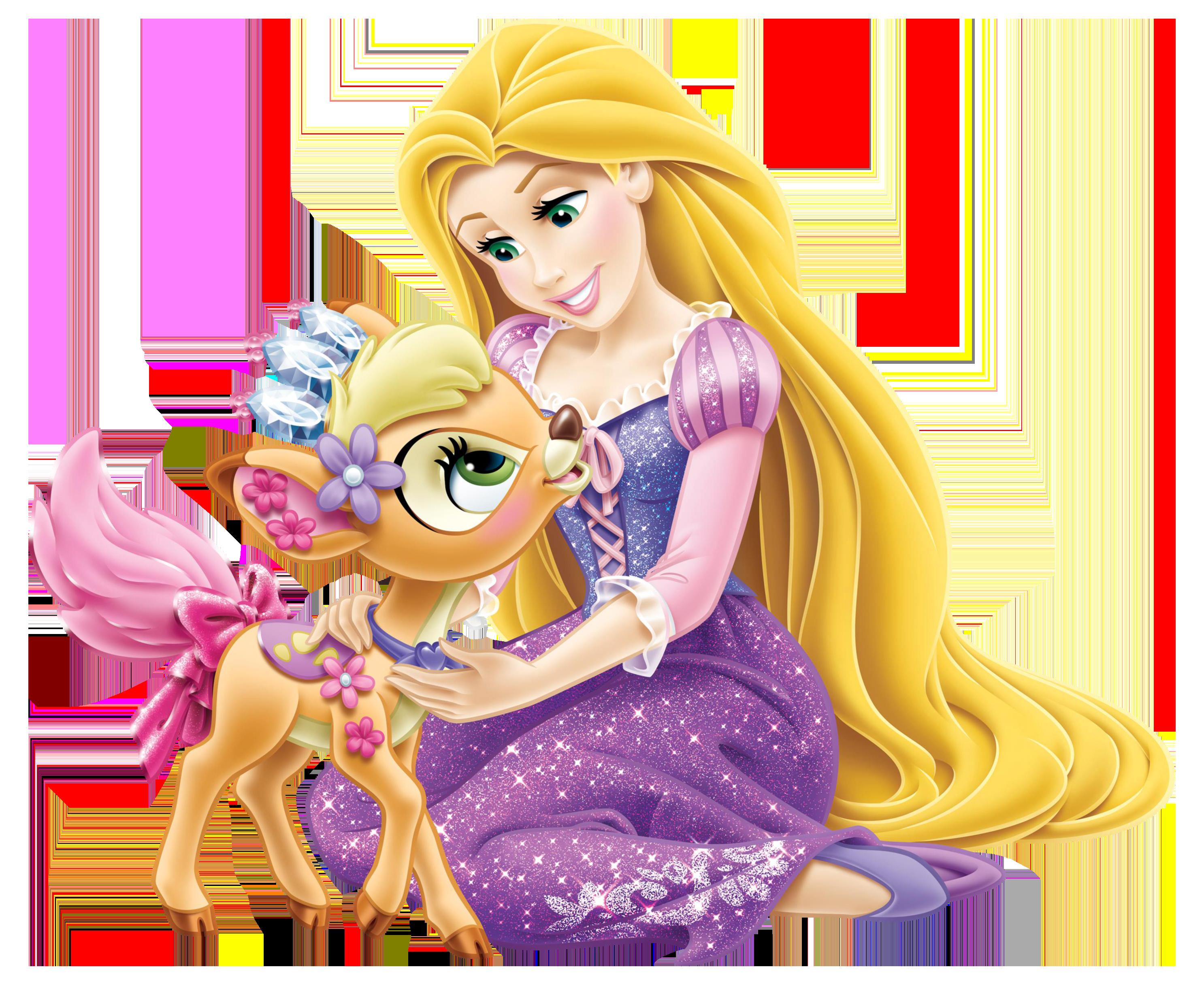 Disney Princess Rapunzel with Little Deer Transparent PNG Clip Art Image - Rapunzel PNG