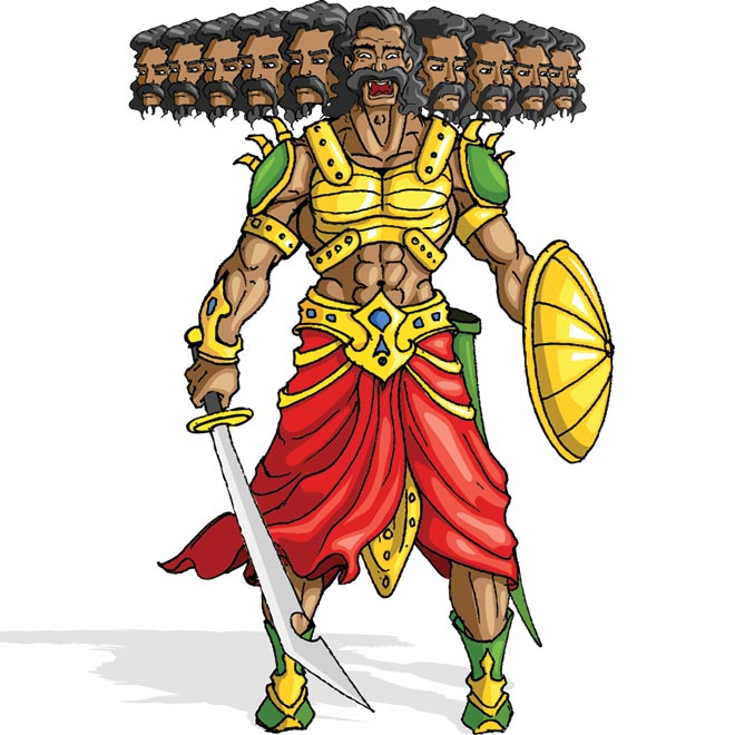 Ravana: big mustache and flowing dark hair - Ravana PNG