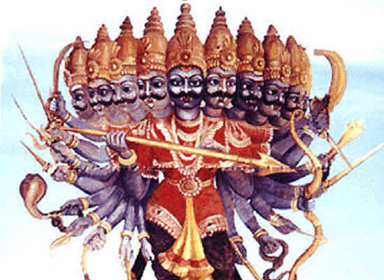 What does the ten heads of Ravana signify? - Ravana PNG
