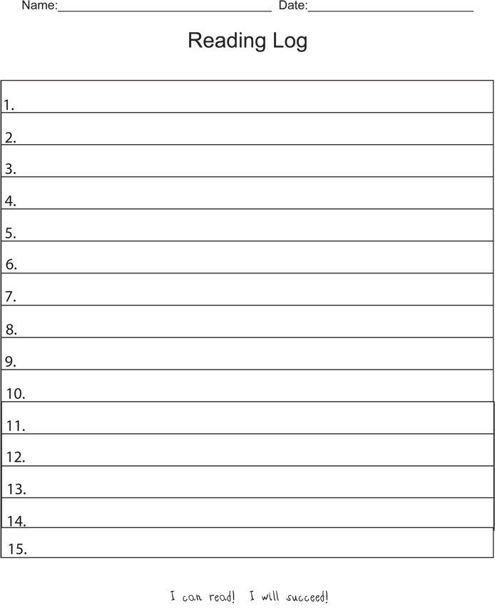 Free Printable Reading Log Template - Reading Log PNG