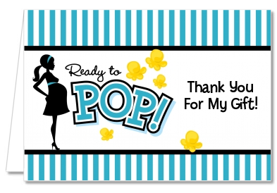 Ready To Pop Teal - Baby Shower Thank You Cards - Ready To Pop PNG