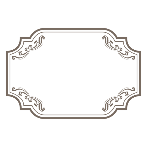 Floral ornamented rectangular frame - Rectangular PNG
