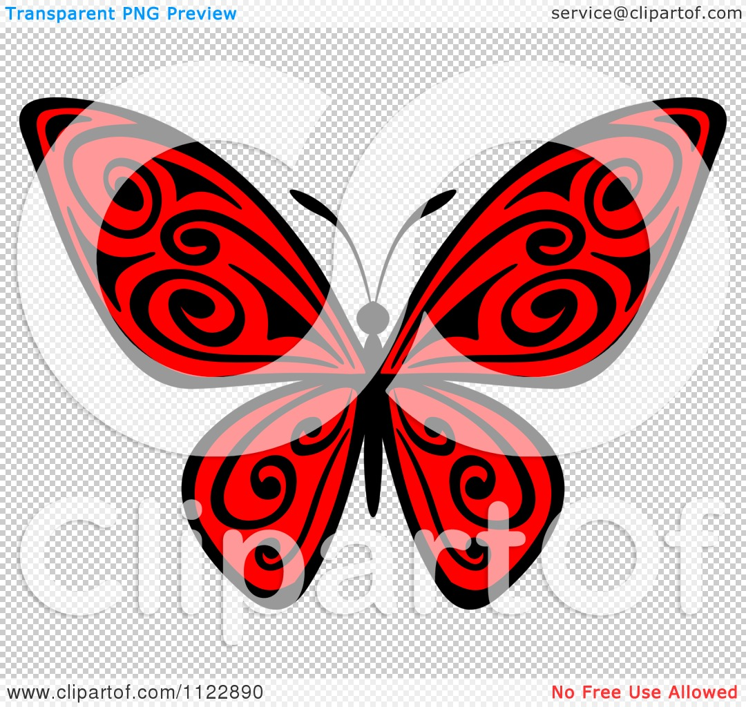 PNG file has a PlusPng.com  - Red And Black Butterfly PNG