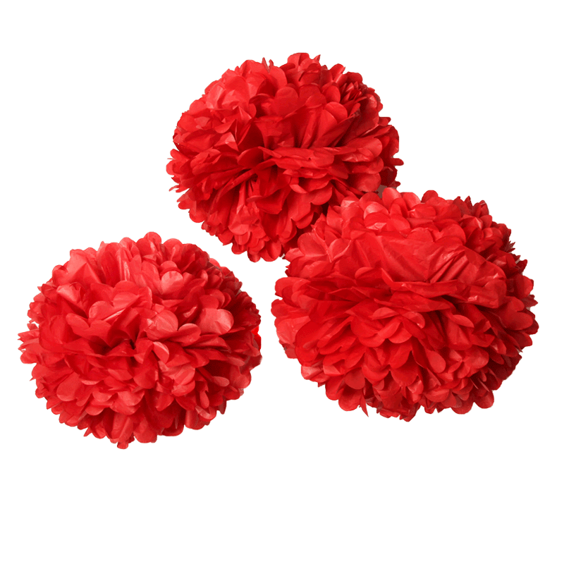 Red Pom Poms PNG-PlusPNG.com-800 - Red Pom Poms PNG