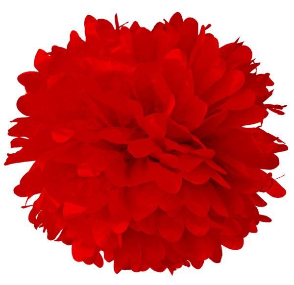 Red Tissue Pom Poms - Red Pom Poms PNG
