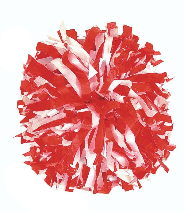 Stock Youth Two Color Plastic Pom - Red Pom Poms PNG