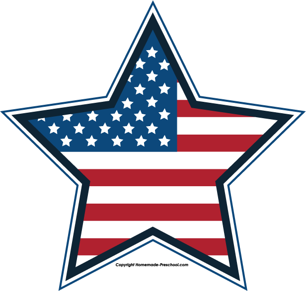 Free July 4th Clipart - Red White And Blue Star PNG