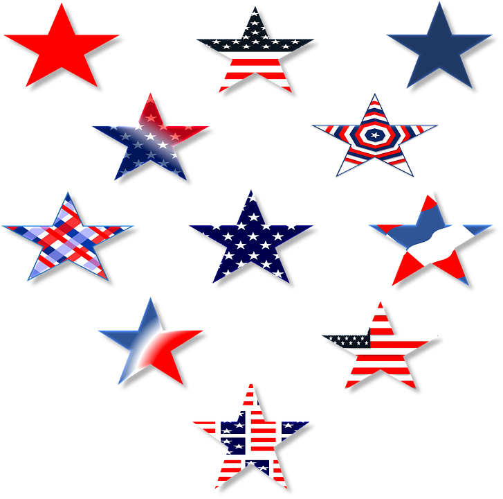 star red white blue america usa symbol 3d july - Red White And Blue Star PNG