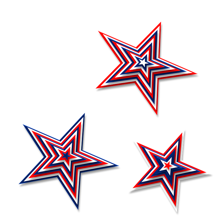 stars 3d red white blue america patriotic july - Red White And Blue Star PNG