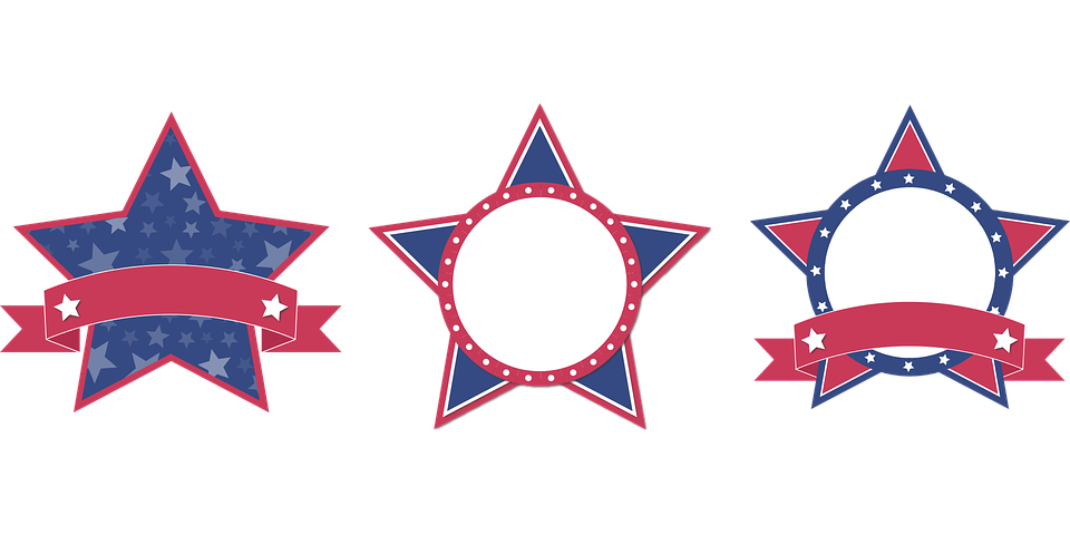 stars burst sale banner red white blue usa - Red White And Blue Star PNG