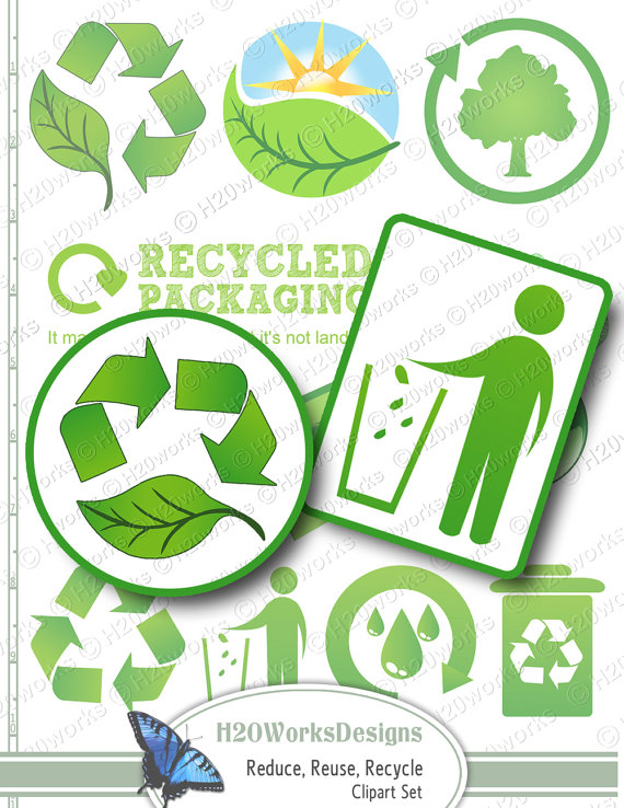 Green Reduce, Reuse, Recycle Clip Art Set - Transparent Background - Earth  Day, Leaves, Trees, INSTANT DOWNLOAD - Reduce Reuse Recycle Earth PNG