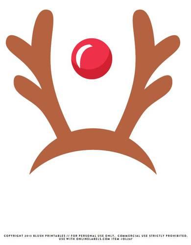 OL267 - Reindeer Antlers u0026 Red Nose Printable Photo Booth Prop - Reindeer Antlers PNG
