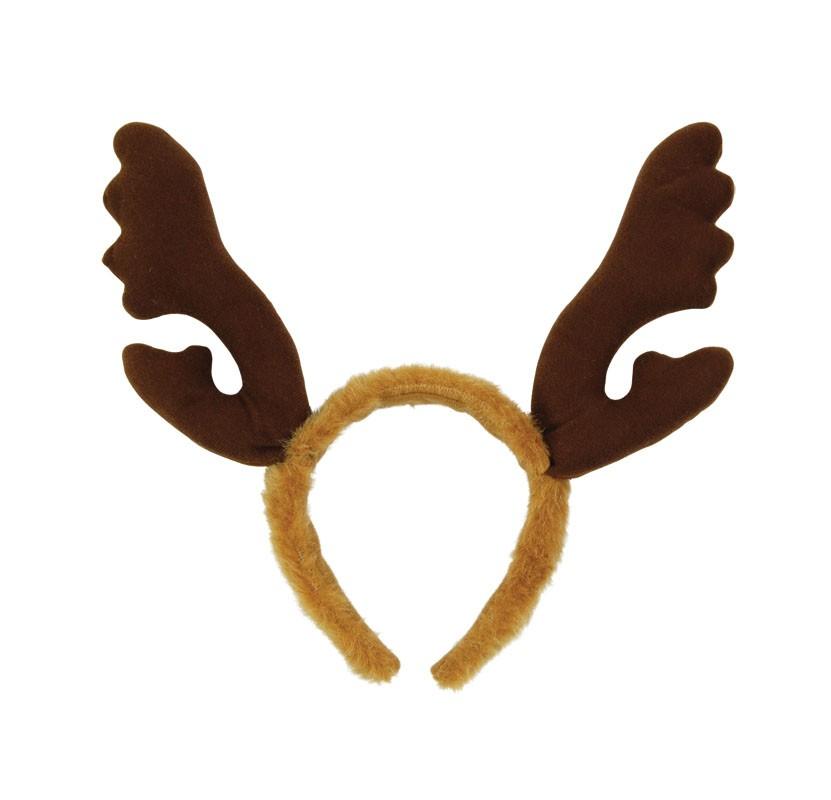 Reindeer Antlers with Brown Fur Headband - Reindeer Antlers PNG