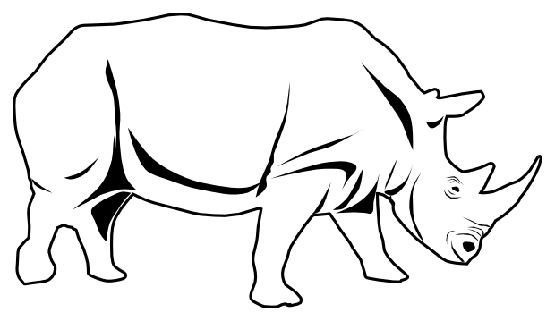 Rhino PNG Black And White - 60891