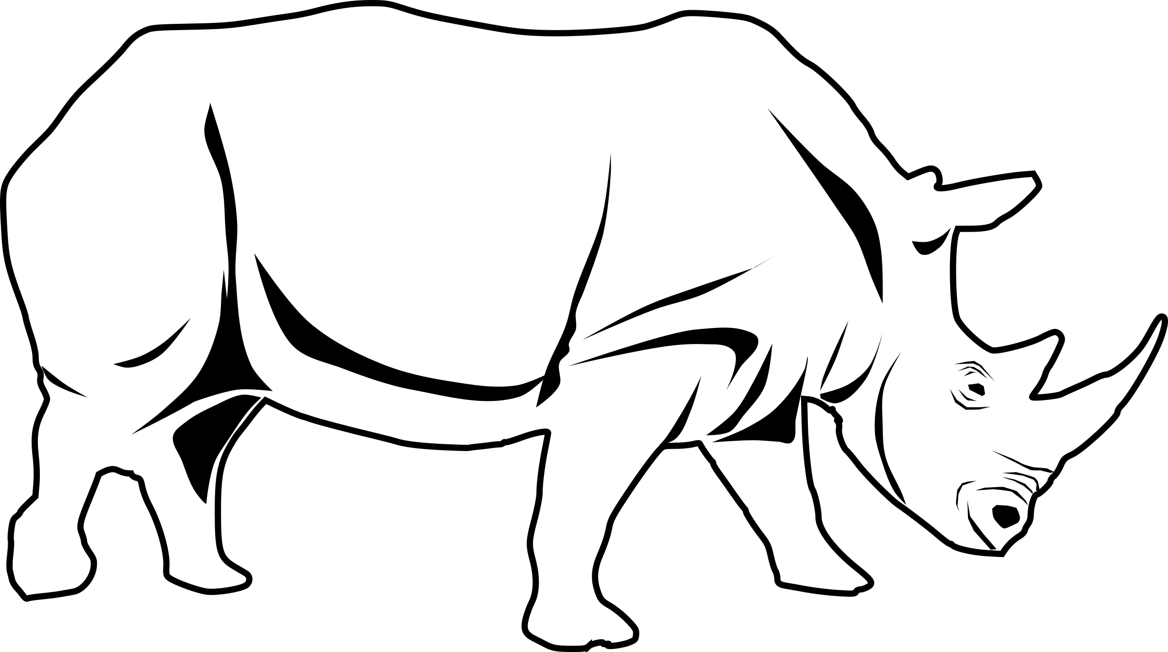 Rhino PNG Black And White - 60897