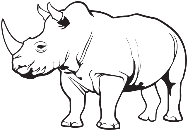 Rhino PNG Black And White - 60888