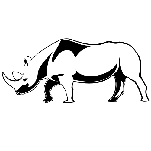 Rhino PNG Black And White - 60895