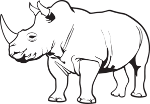 Rhino PNG Black And White - 60887