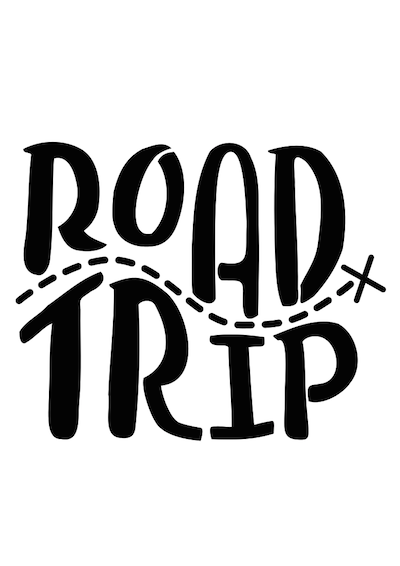 Road Trip PNG Black And White - 162203