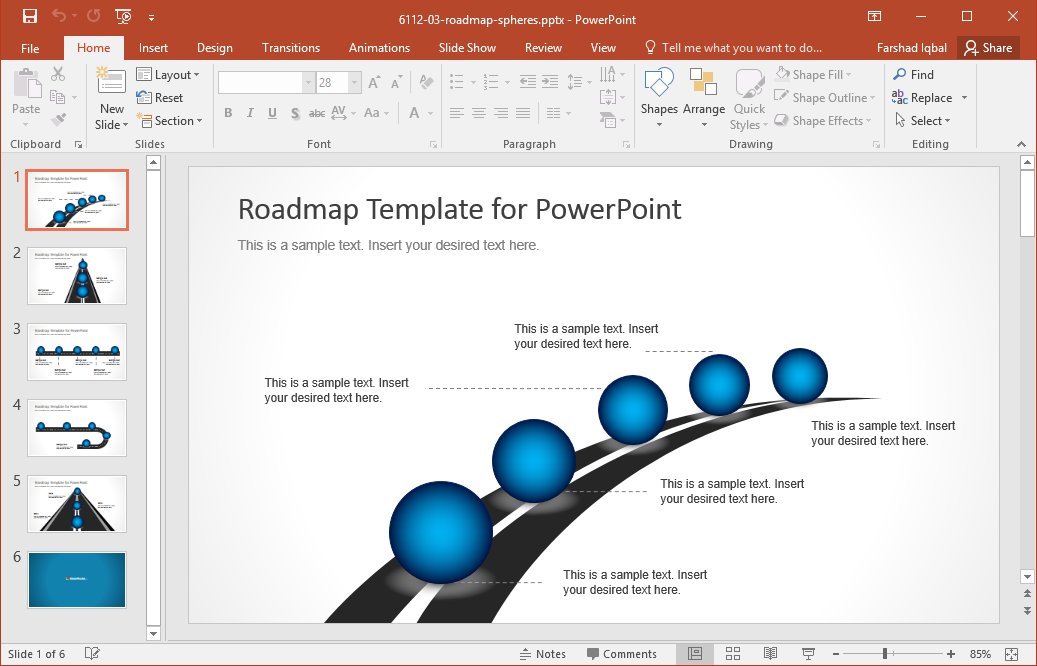 Go to Download Roadmap Timeline with Spheres Template for PowerPoint - Roadmap PNG Powerpoint