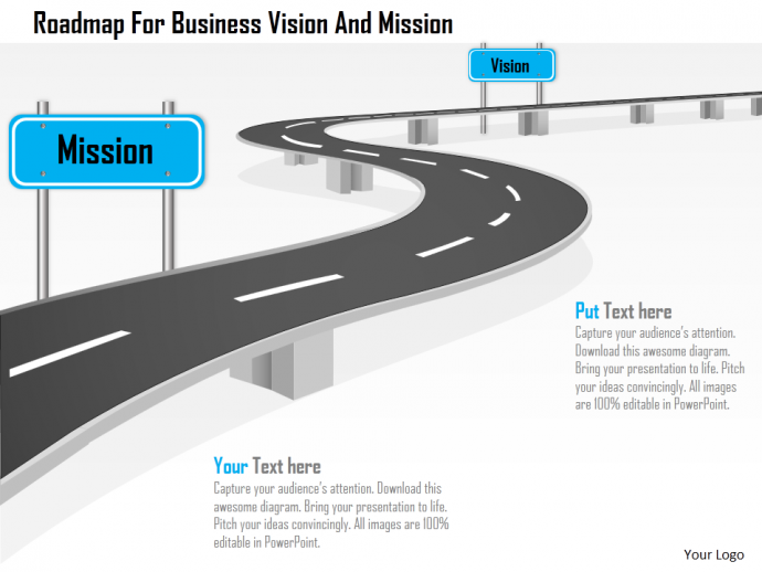 Roadmap for business vision and mission powerpoint template - Roadmap PNG Powerpoint