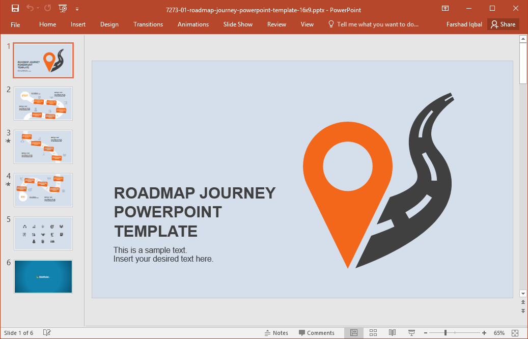 Roadmap Journey PowerPoint template - Roadmap PNG Powerpoint